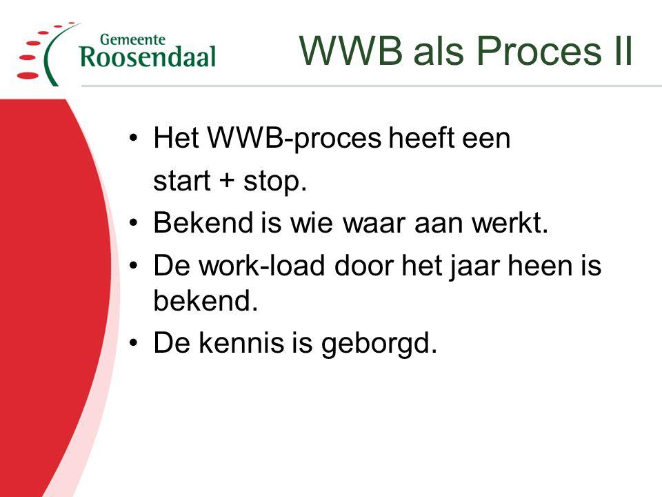WWB als Proces II Het WWB-proces heeft een start + stop.