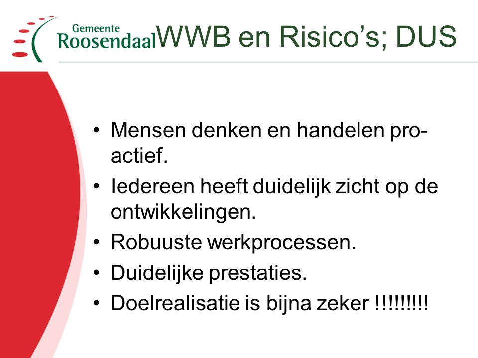 WWB en Risico's; DUS Mensen denken en handelen pro-actief.