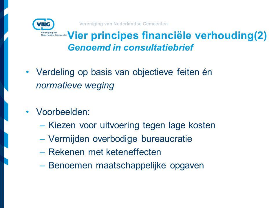 Vier principes financiële verhouding(2) Genoemd in consultatiebrief