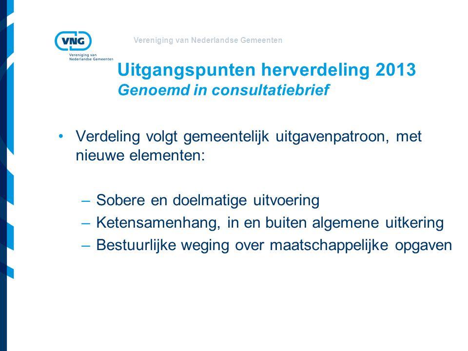Uitgangspunten herverdeling 2013 Genoemd in consultatiebrief