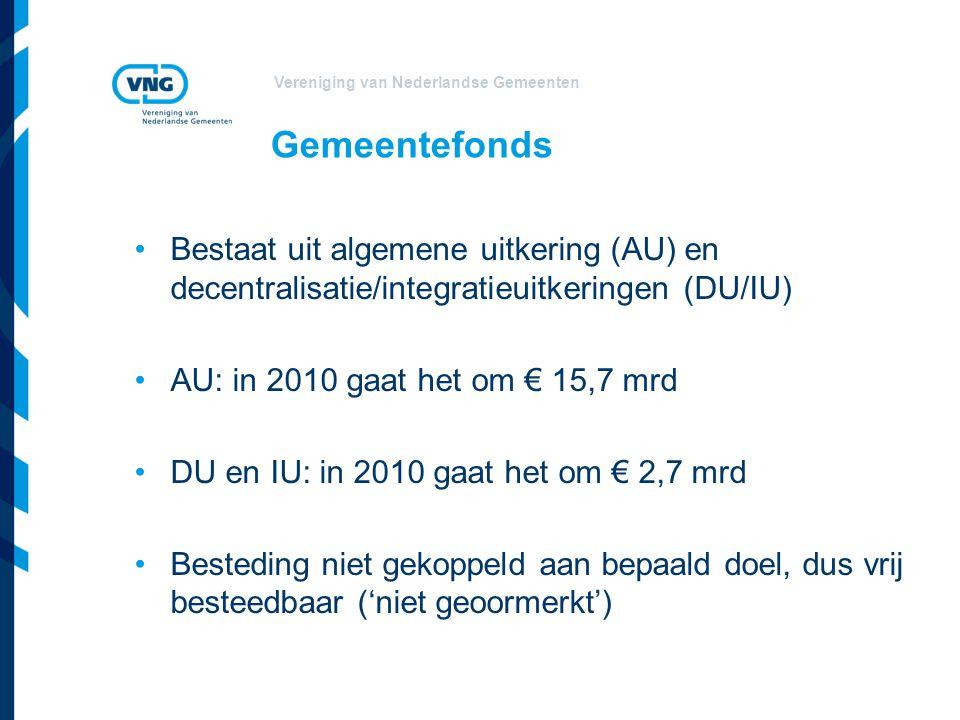 Gemeentefonds Bestaat uit algemene uitkering (AU) en decentralisatie/integratieuitkeringen (DU/IU) AU: in 2010 gaat het om € 15,7 mrd.