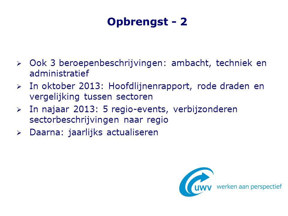 Opbrengst - 2 Ook 3 beroepenbeschrijvingen: ambacht, techniek en administratief.