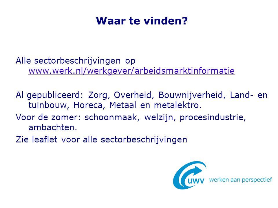 Waar te vinden Alle sectorbeschrijvingen op www.werk.nl/werkgever/arbeidsmarktinformatie.
