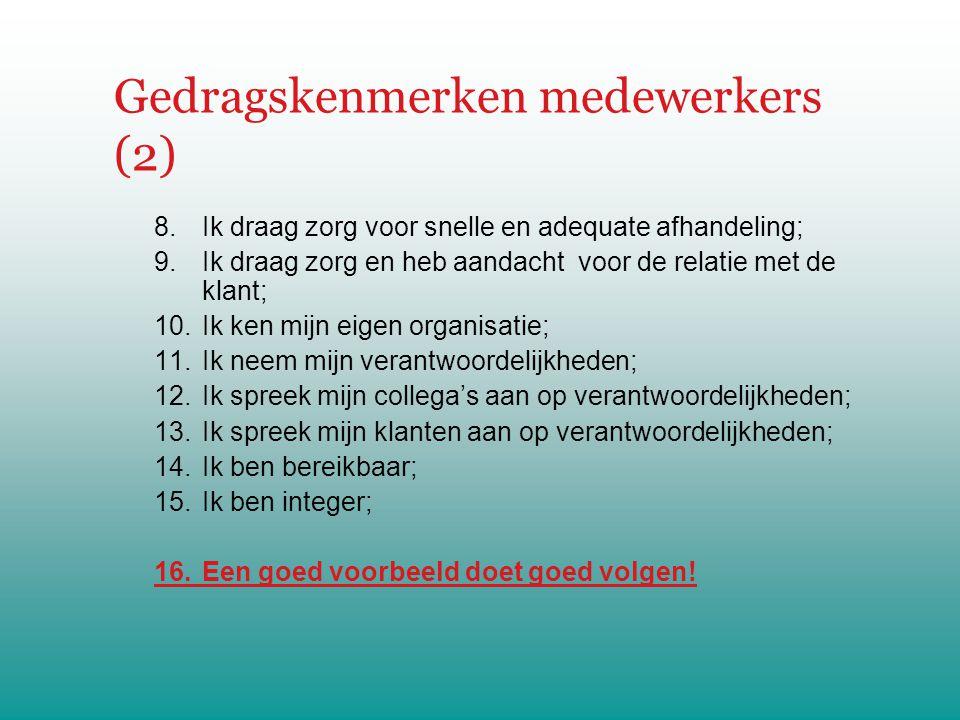 Gedragskenmerken medewerkers (2)