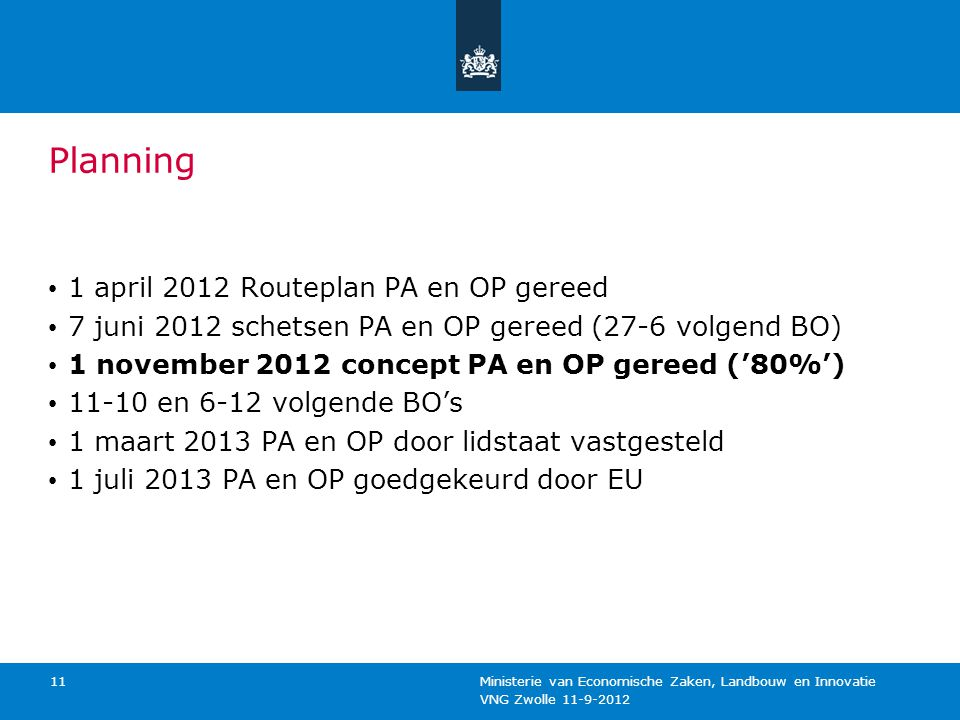 Planning 1 april 2012 Routeplan PA en OP gereed