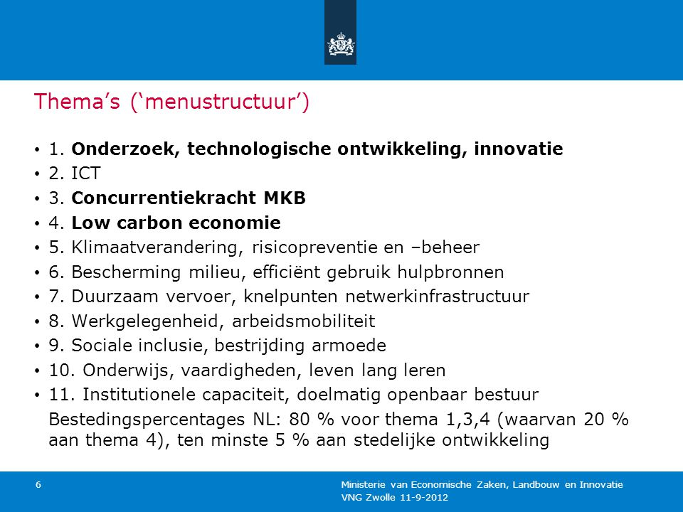 Thema's ('menustructuur')