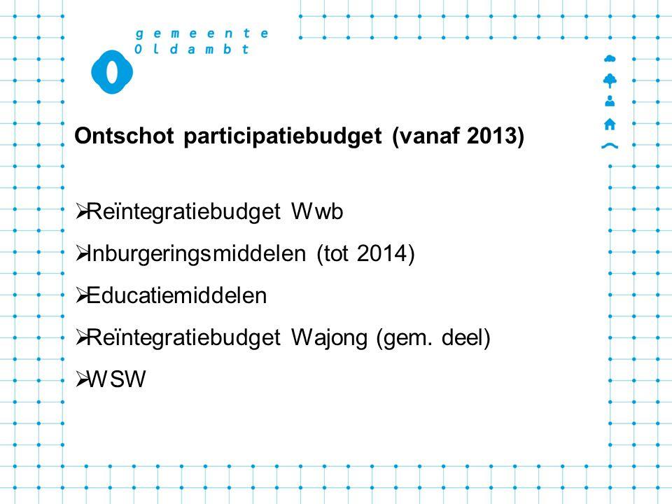 Ontschot participatiebudget (vanaf 2013)