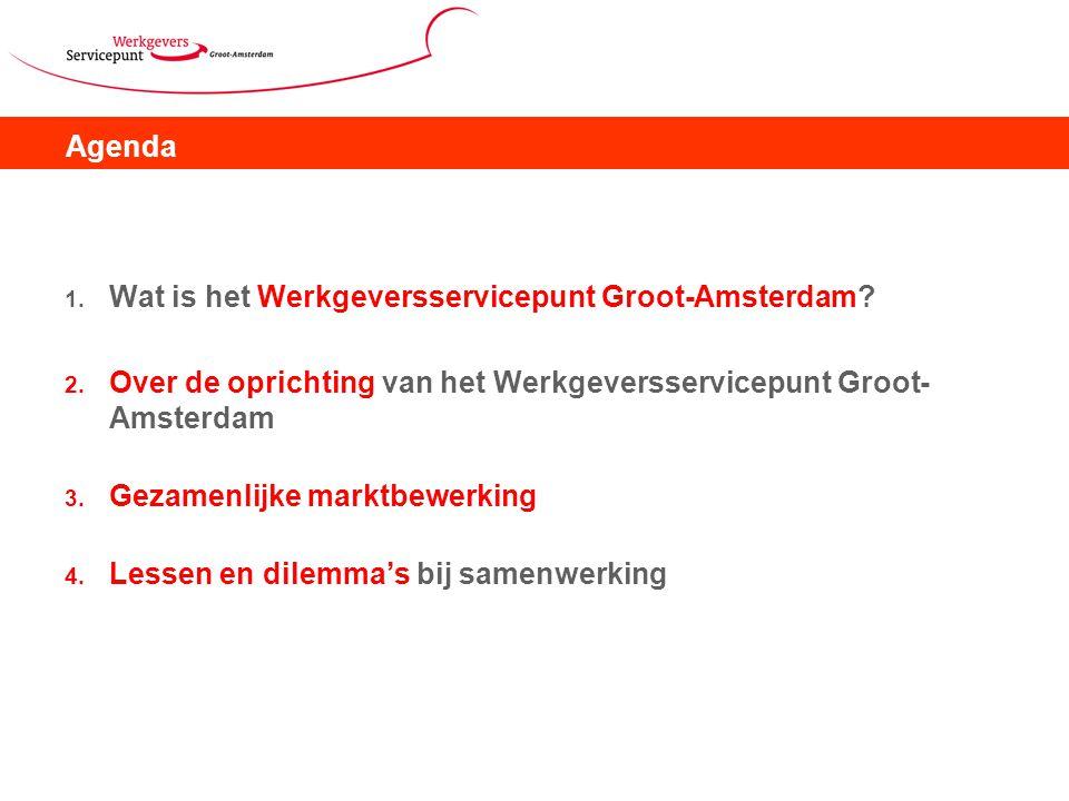 Agenda Wat is het Werkgeversservicepunt Groot-Amsterdam Over de oprichting van het Werkgeversservicepunt Groot-Amsterdam.