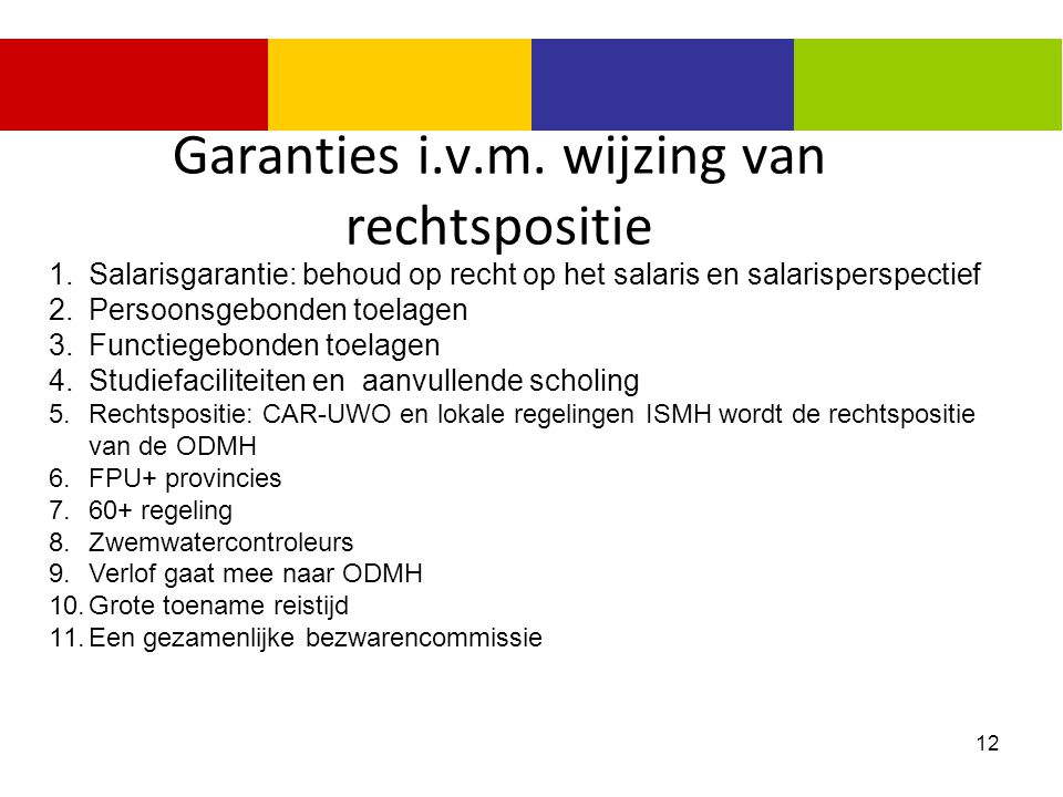 Garanties i.v.m. wijzing van rechtspositie