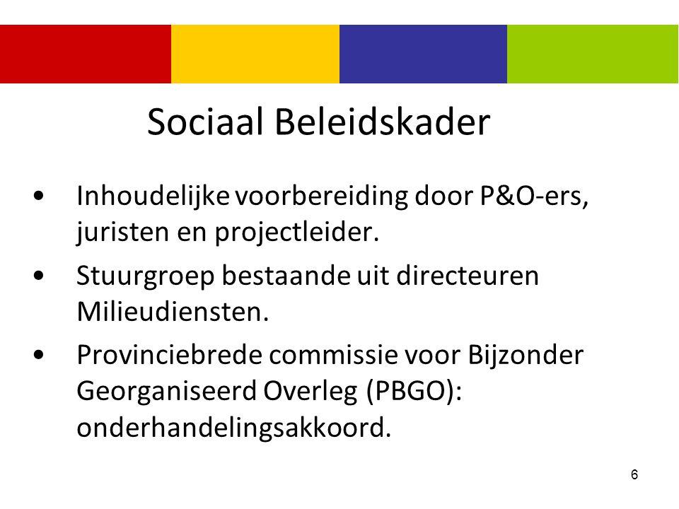Sociaal Beleidskader Inhoudelijke voorbereiding door P&O-ers, juristen en projectleider. Stuurgroep bestaande uit directeuren Milieudiensten.