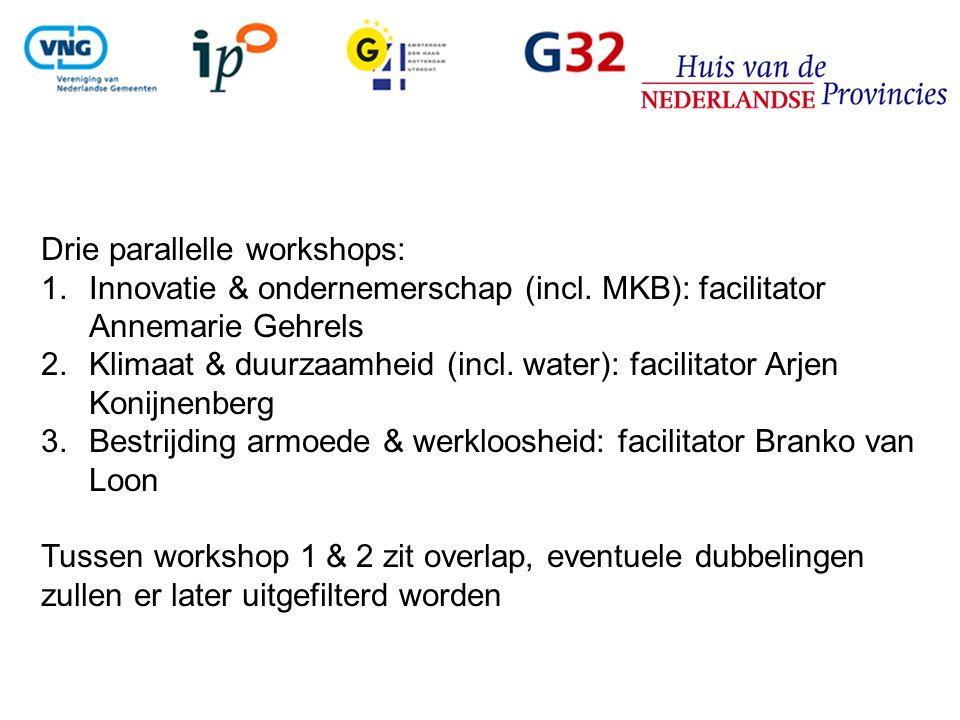 Drie parallelle workshops: