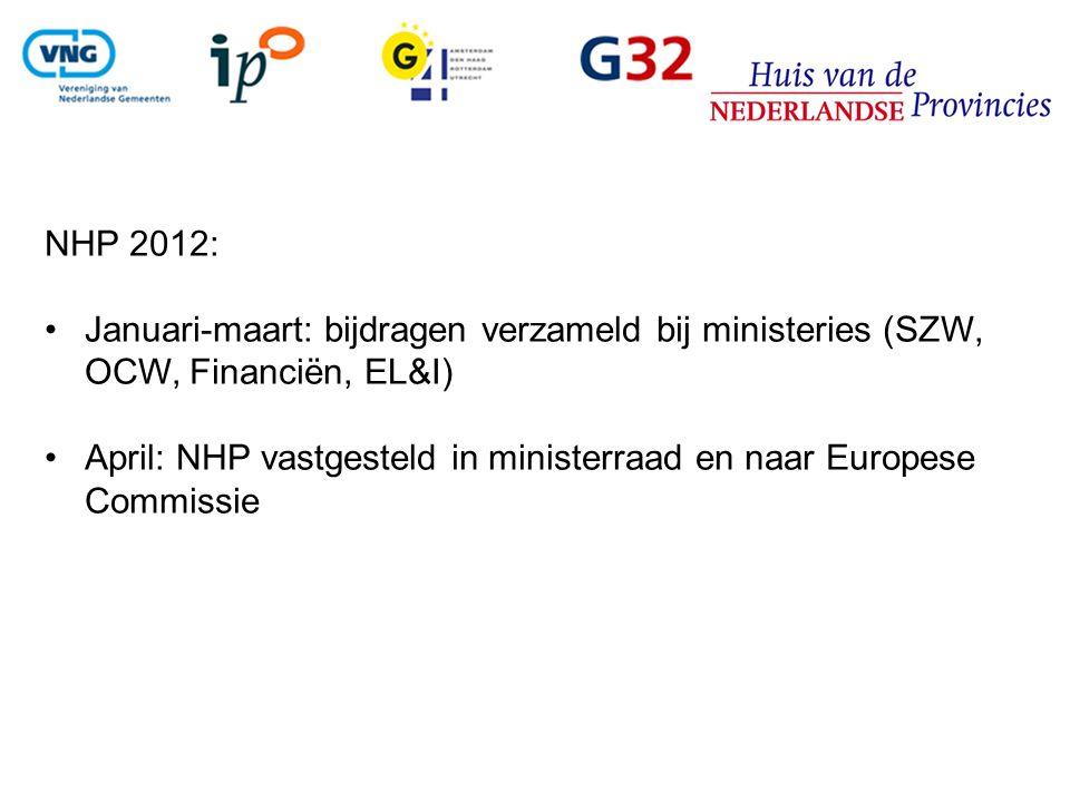 NHP 2012: Januari-maart: bijdragen verzameld bij ministeries (SZW, OCW, Financiën, EL&I)