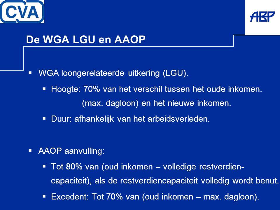 De WGA LGU en AAOP WGA loongerelateerde uitkering (LGU).
