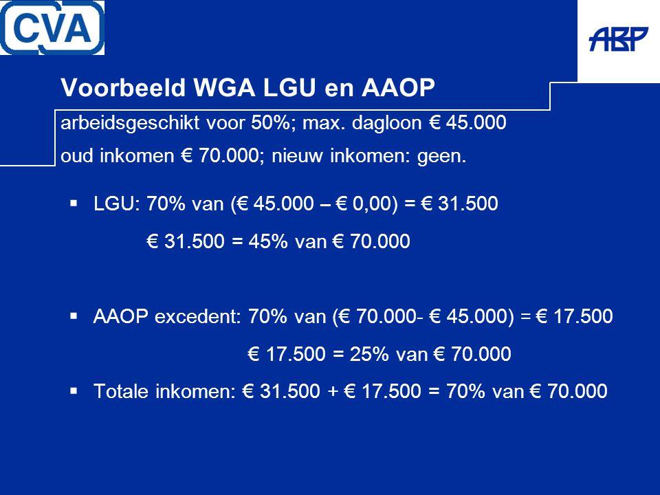 Voorbeeld WGA LGU en AAOP arbeidsgeschikt voor 50%; max. dagloon € 45