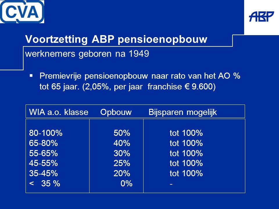 Voortzetting ABP pensioenopbouw werknemers geboren na 1949
