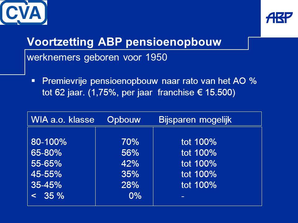 Voortzetting ABP pensioenopbouw werknemers geboren voor 1950
