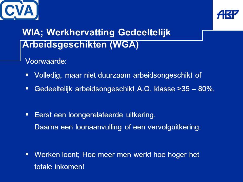 WIA; Werkhervatting Gedeeltelijk Arbeidsgeschikten (WGA)