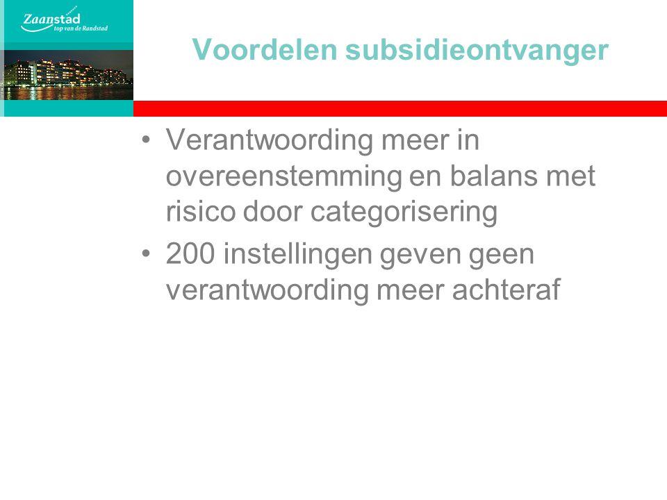 Voordelen subsidieontvanger