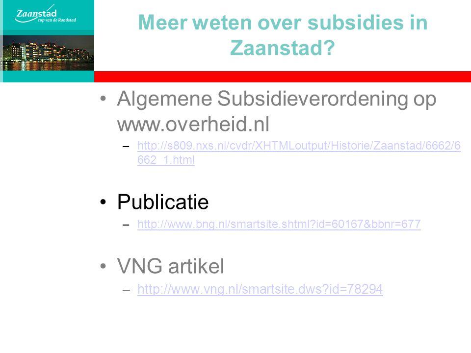 Meer weten over subsidies in Zaanstad
