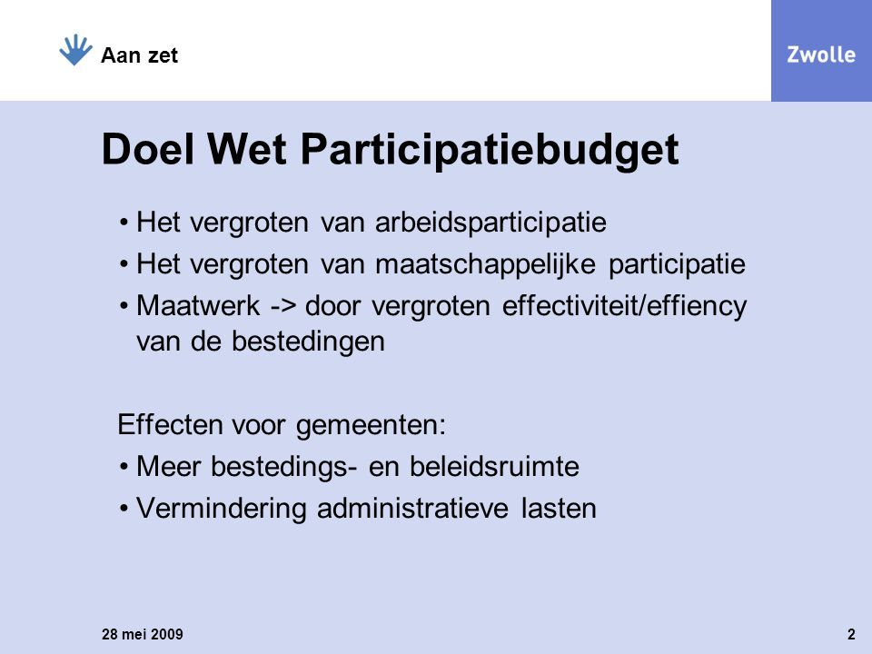 Doel Wet Participatiebudget