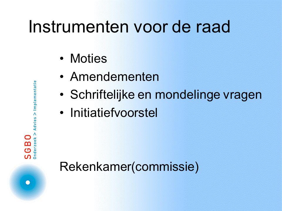 Instrumenten voor de raad