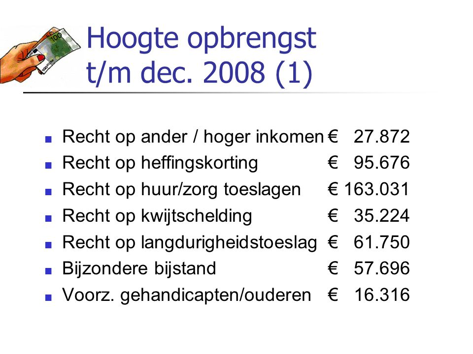 Hoogte opbrengst t/m dec. 2008 (1)