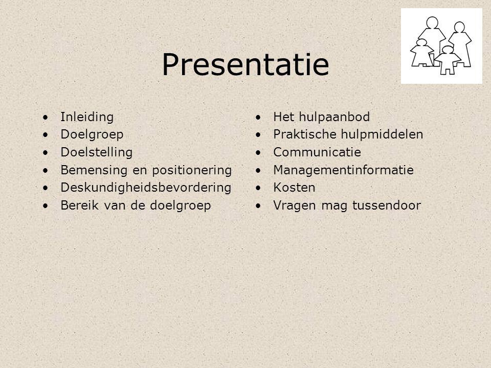 Presentatie Inleiding Doelgroep Doelstelling