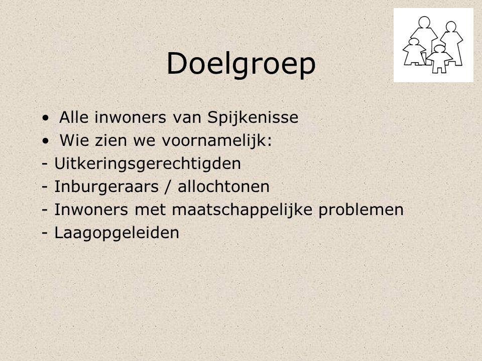 Doelgroep Alle inwoners van Spijkenisse Wie zien we voornamelijk: