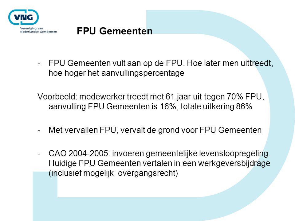 FPU Gemeenten FPU Gemeenten vult aan op de FPU. Hoe later men uittreedt, hoe hoger het aanvullingspercentage.