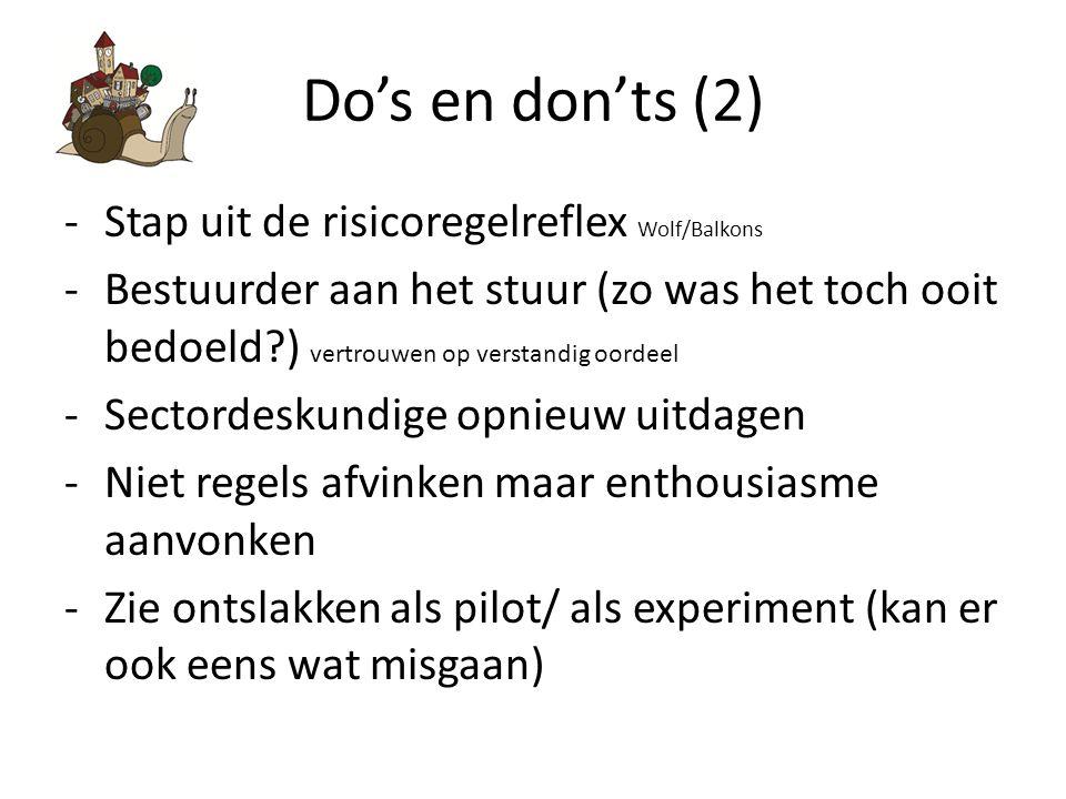 Do's en don'ts (2) Stap uit de risicoregelreflex Wolf/Balkons