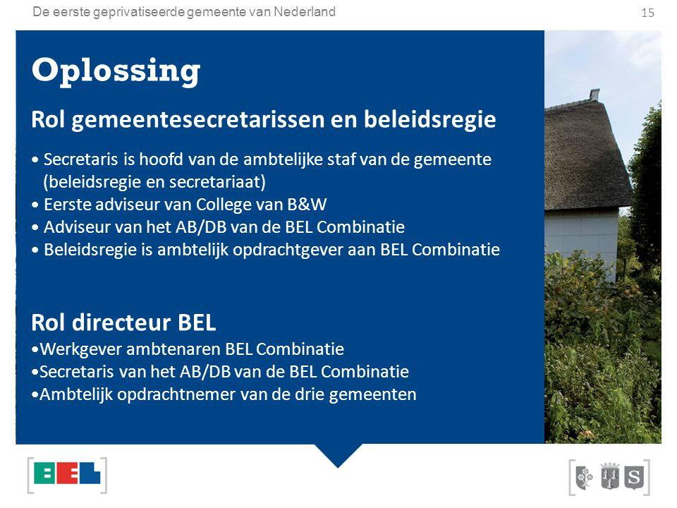 Oplossing Rol gemeentesecretarissen en beleidsregie Rol directeur BEL