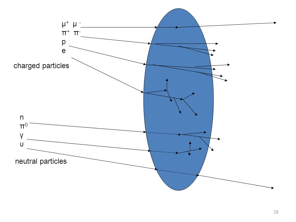 μ+ μ - π+ π- p e charged particles n π0 γ υ neutral particles