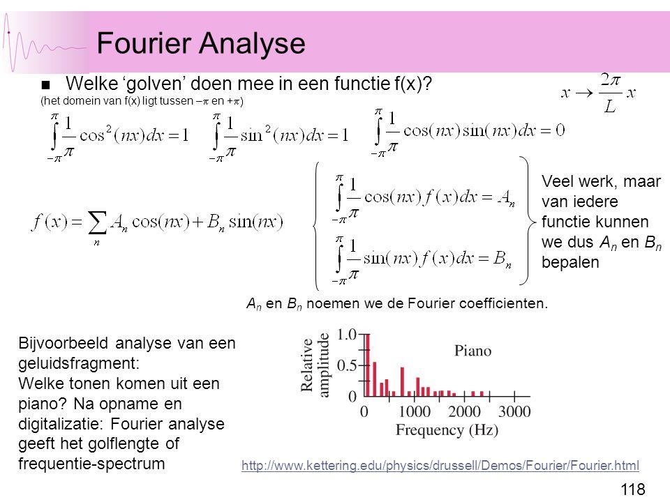 Fourier Analyse Welke 'golven' doen mee in een functie f(x)