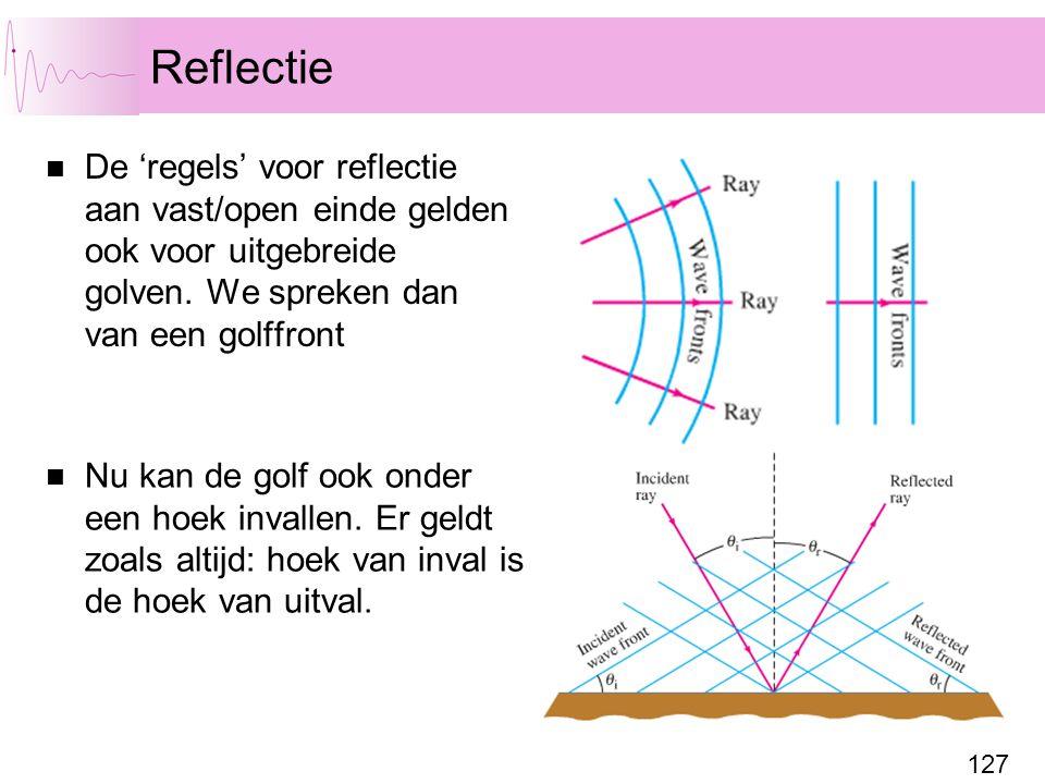 Reflectie De 'regels' voor reflectie aan vast/open einde gelden ook voor uitgebreide golven. We spreken dan van een golffront.