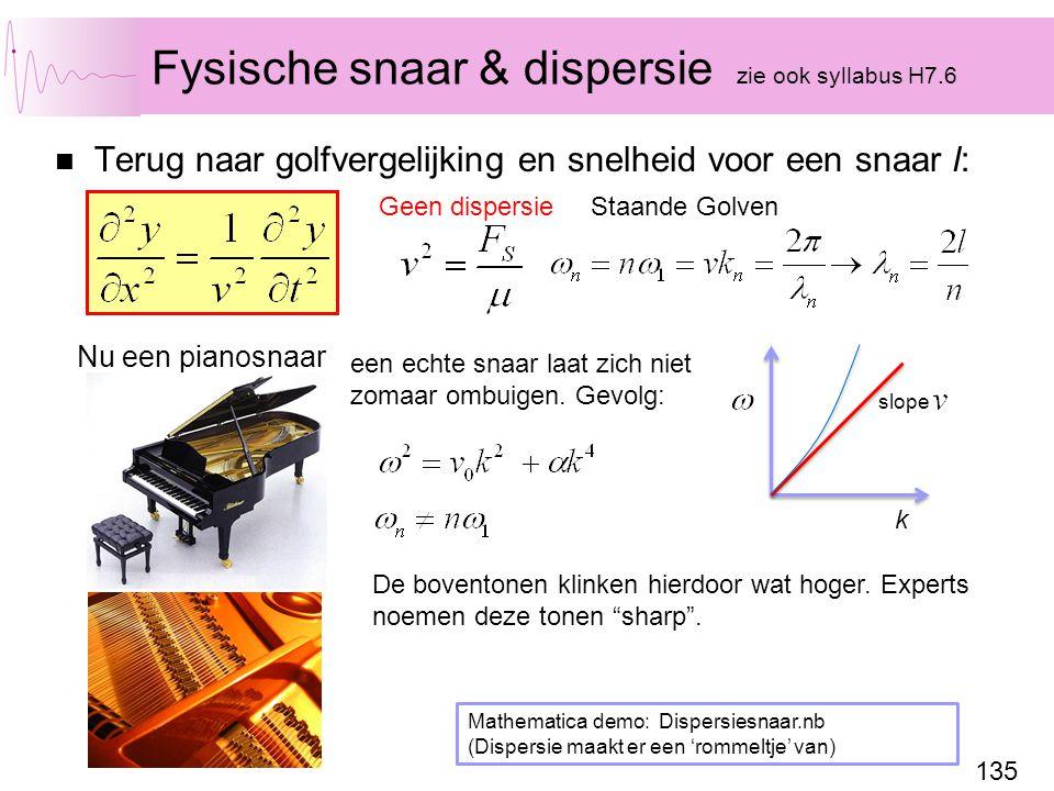 Fysische snaar & dispersie zie ook syllabus H7.6