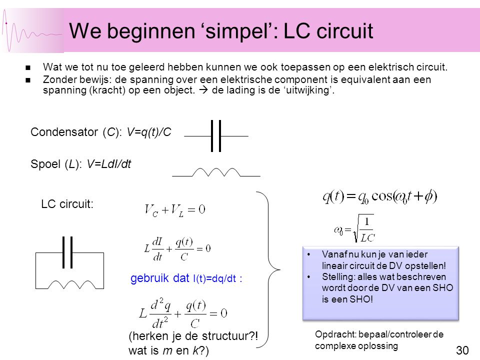 We beginnen 'simpel': LC circuit