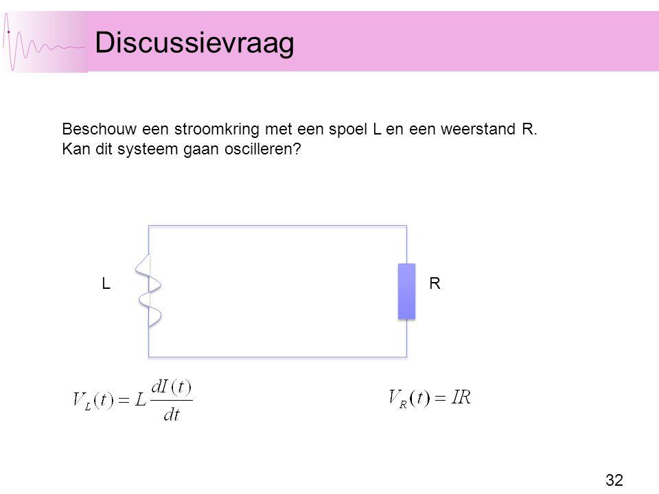 Discussievraag Beschouw een stroomkring met een spoel L en een weerstand R. Kan dit systeem gaan oscilleren