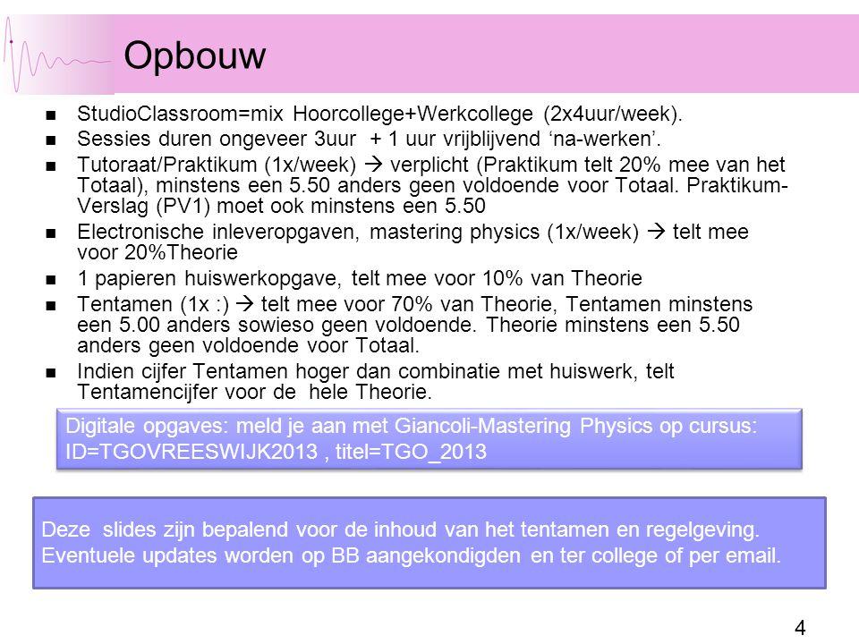 Opbouw StudioClassroom=mix Hoorcollege+Werkcollege (2x4uur/week).