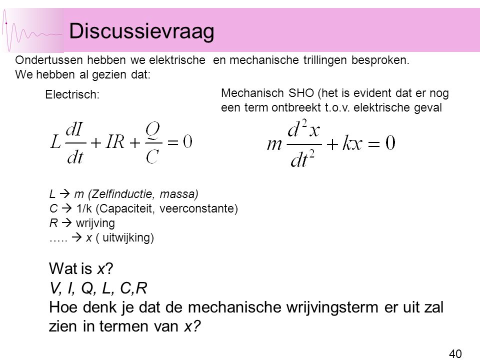 Discussievraag Wat is x V, I, Q, L, C,R