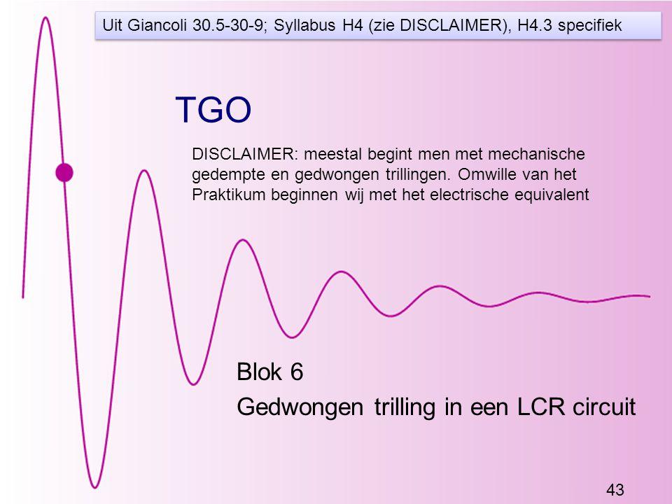 Blok 6 Gedwongen trilling in een LCR circuit