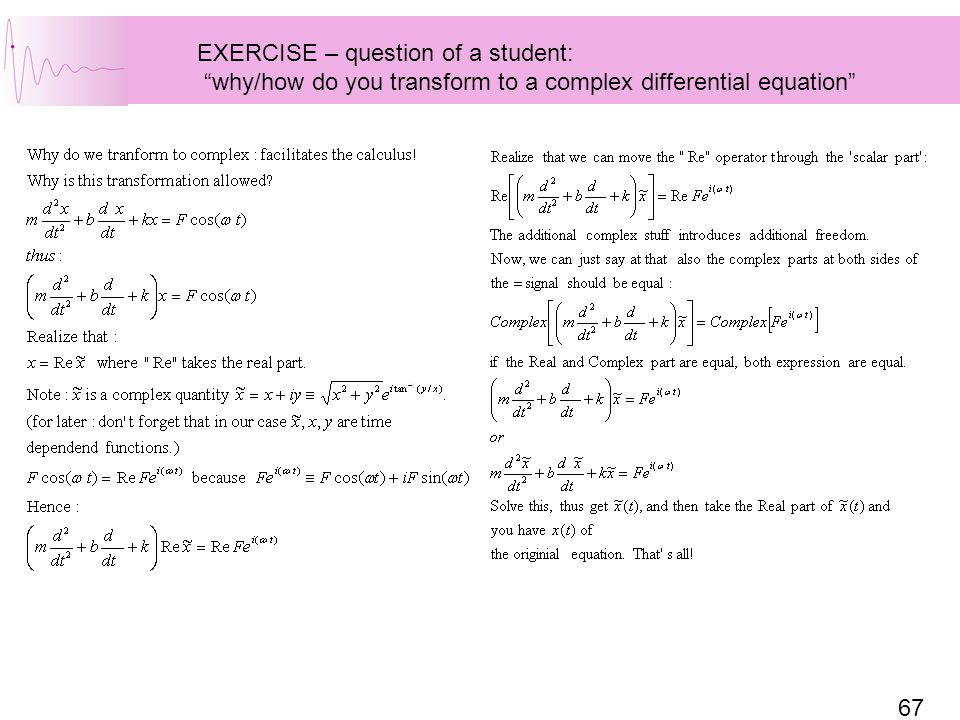 EXERCISE – question of a student:
