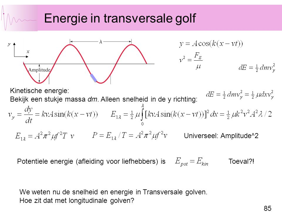 Energie in transversale golf