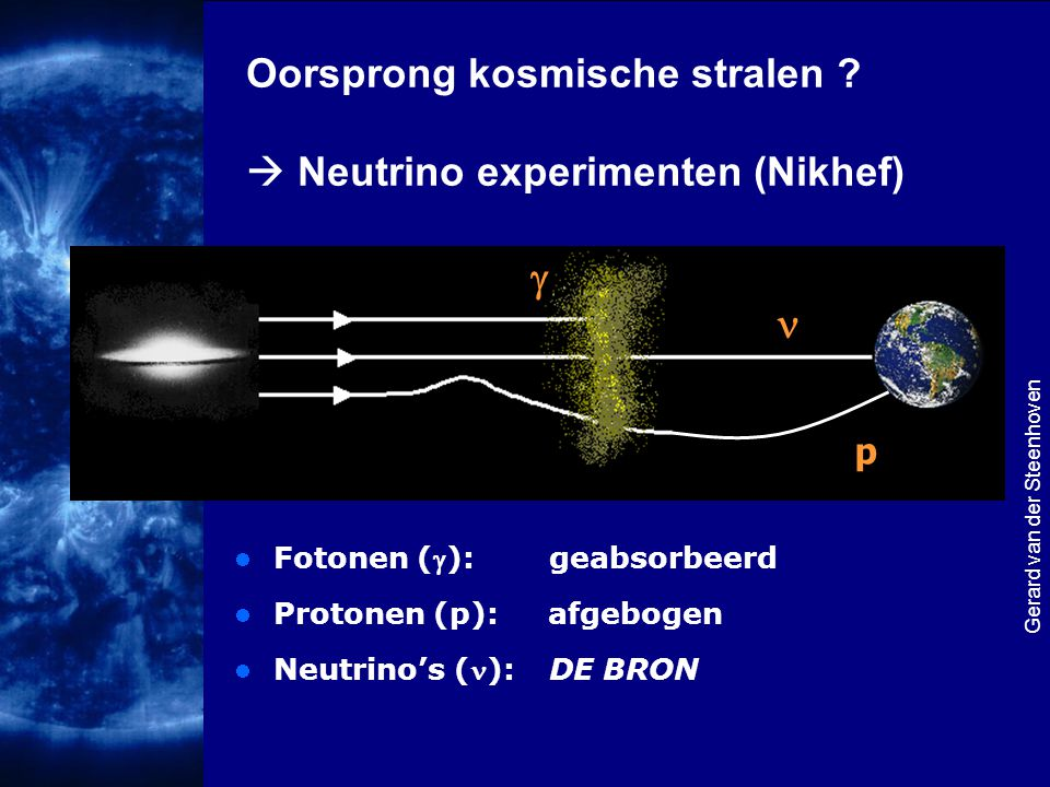 g n Oorsprong kosmische stralen  Neutrino experimenten (Nikhef) p