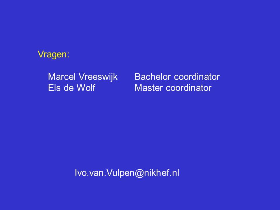 Vragen: Marcel Vreeswijk Bachelor coordinator.