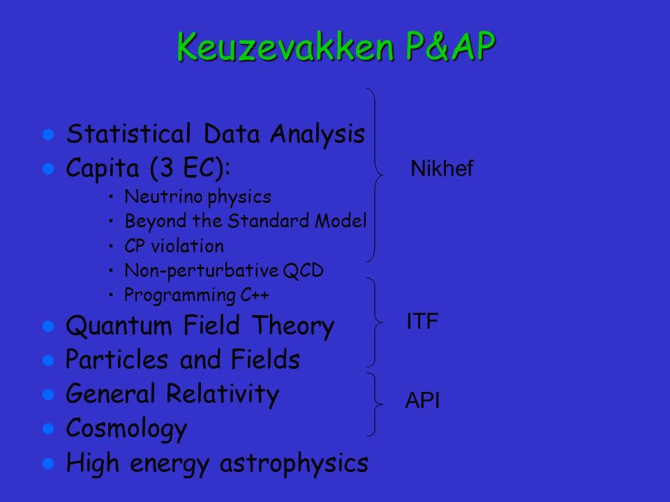 Keuzevakken P&AP Statistical Data Analysis Capita (3 EC):