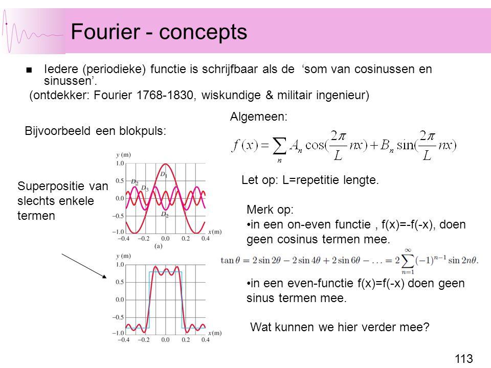 Fourier - concepts Iedere (periodieke) functie is schrijfbaar als de 'som van cosinussen en sinussen'.