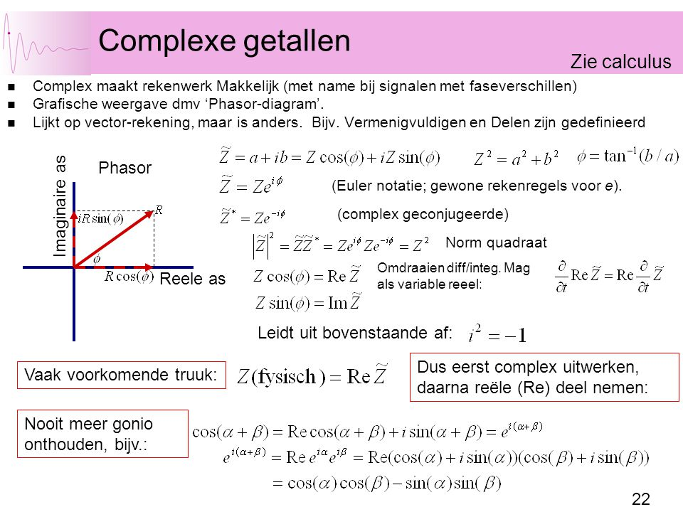 Complexe getallen Zie calculus Phasor Imaginaire as Reele as