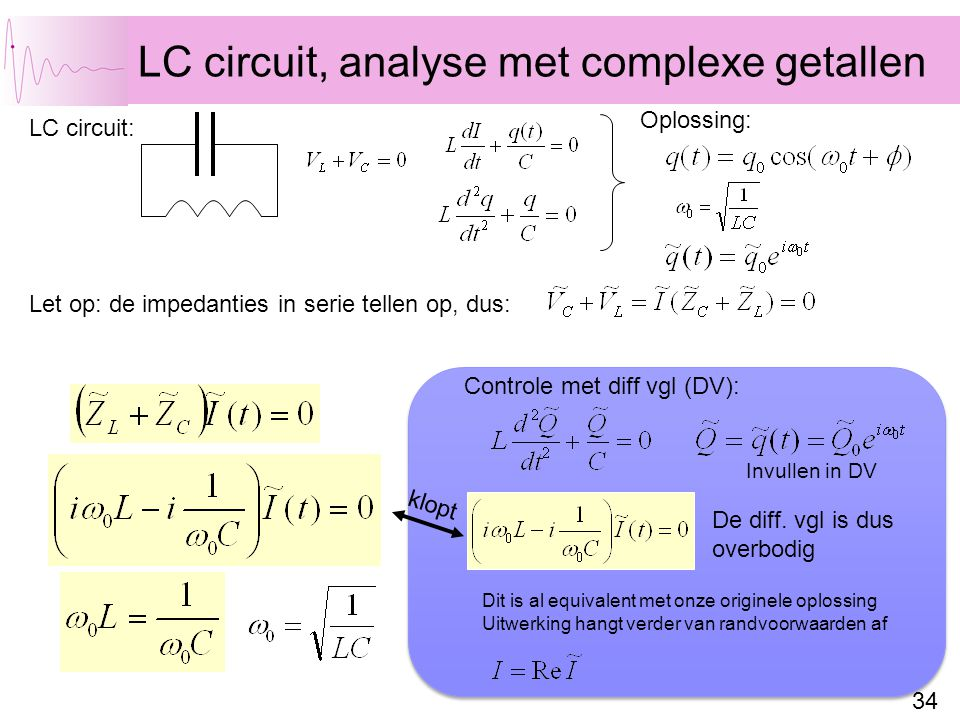 LC circuit, analyse met complexe getallen