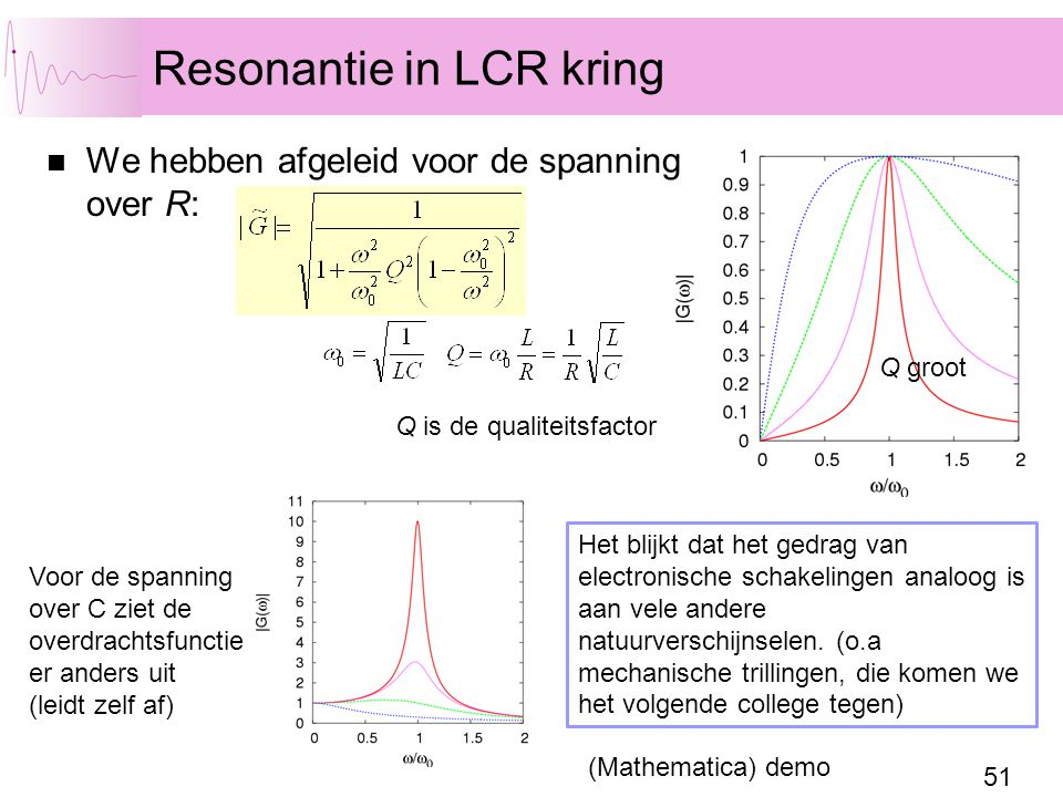 Resonantie in LCR kring