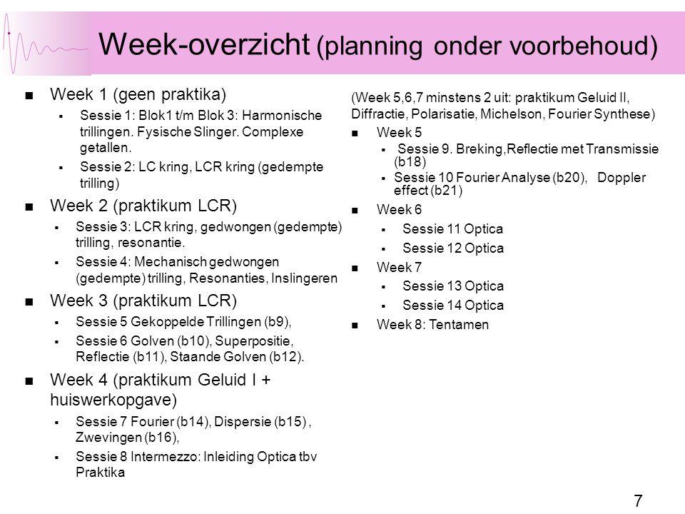 Week-overzicht (planning onder voorbehoud)